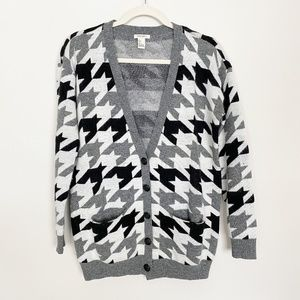 Forever 21 Houndstooth Cardigan Grandpa Sweater S